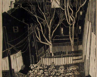 Alley behind Riggs Street, lino block print, limited edition, hand pulled, artist signed and printed
