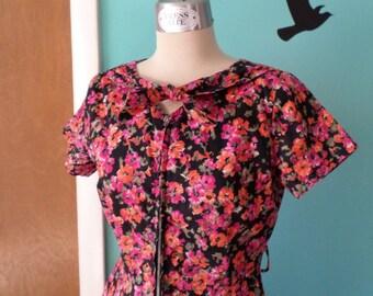 Gerainium Conservatory - 1940's Cotton Floral Zip Front Dress