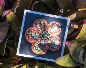 Blank Greeting Card - Crazy Daisy mosaic