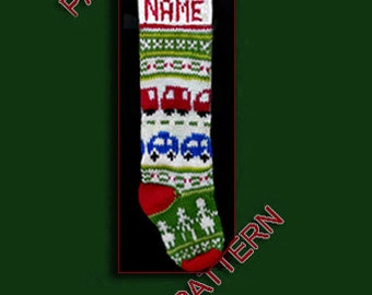 Pattern only, hand knit Christmas stocking ---  Red car, blue car and dancing figures.