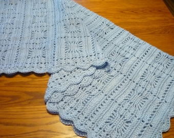 Crochet Baby Blanket Toddler Size Blanket Blue Snowflake Design Scalloped Edging, Ready to Ship, Direct Checkout