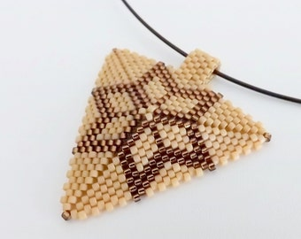 Peyote Star Triangle Pendant Necklace Brown Matte  Terracotta Beadwork Beaded Beadwoven Seed Bead Handmade Geometric