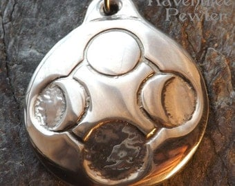 Enchanted Moon - Pewter Pendant - Moon Spin our Dreams in your many Cycles, Night Sky Jewelry