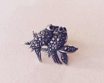 Vintage Marcasite Pin Brooch Avon Love Birds costume jewelry