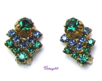 Earrings Green Blue Rhinestone Austria clip on small