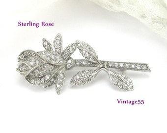 Brooch Rose Rhinestone Sterling