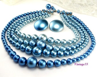 Necklace Blue Beaded four strand earrings clip on