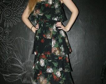 1970s Black Floral Spring Dress ILGWU Union Made