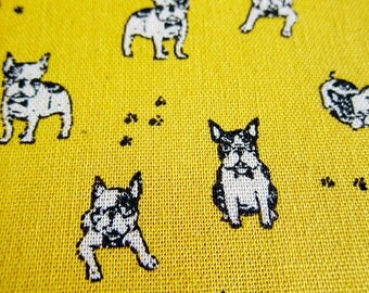 Animal Print Fabric - Pug Power on Yellow - Cotton Linen Blend Fabric By The Yard - Fat Quarter