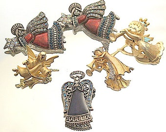 Lot Angel Vintage Brooches Rhinestones Gold Tone Destash Craft Lot