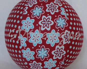 Balloon Ball - Funky Mod Floral Polka Dots - Red and Aqua - as seen with Michelle Obama on Parenting.com