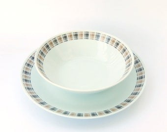 MidCentury Modern Tableware: Plaid 'Highlander' Platter/Chop Plate & Serving Bowl, Harmony House 3909, Japanese Porcelain