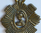 "Lovely Vintage ""The Royal Scots"" Pendant Crest Necklace, Darkened Brass (V4)"