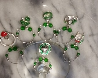 Irish Ireland St. Patrick's Day Wine Charms v2