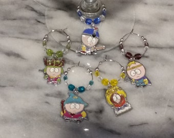 South Park Southpark  Themed  Wine Charms w/Pouch