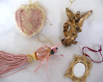 Destash Ornaments, Shabby, Cottage Chic, Ornament Collection, Decorations, Pink Ornaments, Angel, Gold Mirror, Craft Supplies, Art Supplies