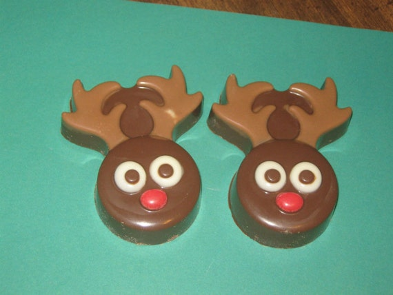 One dozen reindeer chocolate covered sandwich cookie party favors
