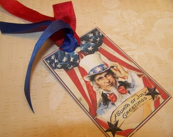 4th of July Tags Patriotic Americana Vintage Style Tags Set of 6