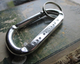 The Ronnie Key Chain - Custom Hand Stamped Carabiner