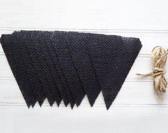 DIY Black Burlap Banner kit, burlap banner kit, craft kit, burlap pennant, burlap craft kit