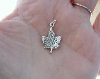 Maple Leaf Sterling Silver Charm