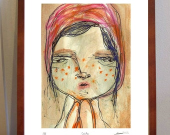 Cecily-  A4 sized quirky illustration Print of close up freckly portrait