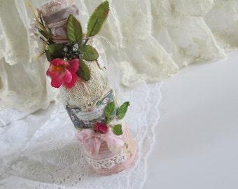 Decorated Bottle, Rustic Wedding Decor, Mixed Media Art Bottle,  Antique Lace Bottle, Shabby Covered Bottle