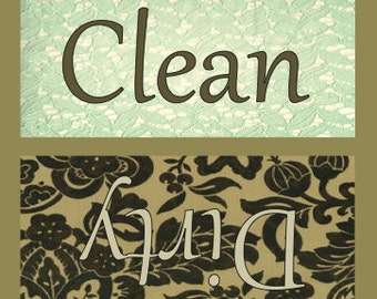 """Gold and Mint Green """"Vintage"""" Clean/Dirty Dishwasher Magnet"""