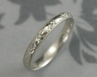 Women's White Gold Wedding Band--Renaissance Band--Vintage Style Ring--Milgrain Edge--Orange Blossom Band--Antique Style Band-Patterned Band