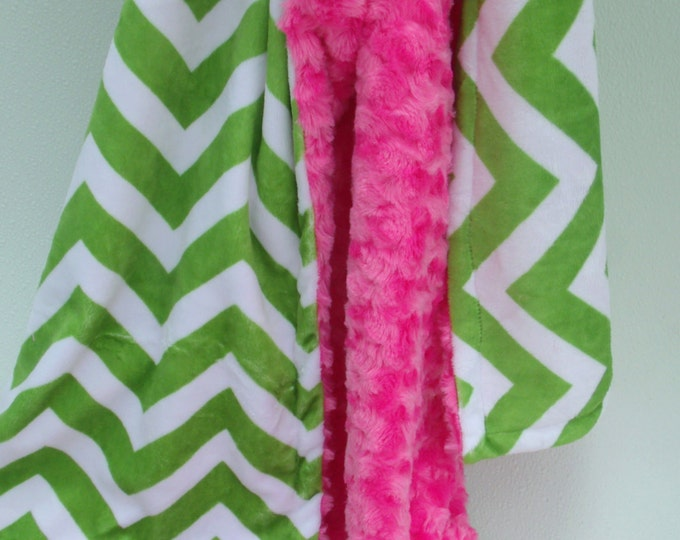 Apple Green Chevron and Fuchsia Swirl Minky Baby Blanket for Baby GirlCan Be Personalized