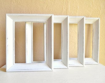 Set of Matching 5x7 Shabby Chic White Wooden Picture Frames Wood 4 Four