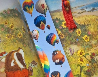 Hot Air Balloons Laminated Photo Bookmark w/ Ceramic Balloon Bead Beaded Charm