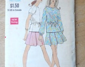 Vintage Late 1960s Two {Piece Dress Sewing Pattern, Vogue 7567, bust 32.5