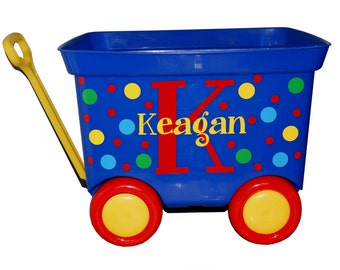 Personalized Pull Wagon - Baby Shower / First Birthday / Monogram Dots