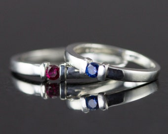 Sterling Channel Set Ring - Silver Bar Rings - 3 mm Birthstone Ring