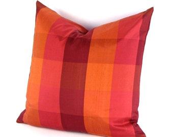 """Orange Silk Pillow Cover  18"""", 20"""", 22"""", 12 x 24"""", 14"""" x 20""""  Plaid Silk Pillow, Orange Checked Pillow, Plaid Pillow, Burgundy Silk"""