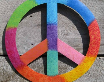 Peace Symbol Metal Wall Art Sculpture Recycled Metal Bright Colors 60's Art Beach House Decor Purple Green Pink Orange Turquoise Yellow
