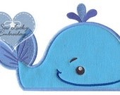 Peeking Whale Applique Embroidered Patch, Sew or Iron on