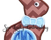 Boy or Girl Chocolate Easter Bunny with Personalized Monogram Applique Embroidered Patch , Sew or Iron on