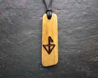 Rare Natural Wood Pendant - Root of Ash - Unique Water Rune Design.