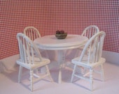 Dollhouse  white table, round table, , four kitchen chairs, dollhouse table and chairs , dollhouse miniature, twelfth scale