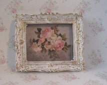 Dollhouse picture,  , tatty chic, miniature picture, gold trimmed picture, picture of roses,  Roses,. a dollhouse miniature