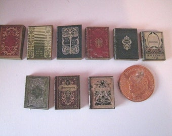 DollhouseTudor books,  Medieval miniature books, set of nine, twelfth scale dollhouse miniature