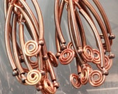 Copper Dendrite and Spiral Earrings