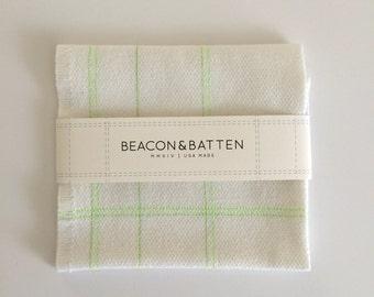 Machine Embroidered Tea Towel : White Ground - Neon Green Thread