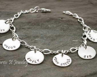 Grandmothers Bracelet 6 Sterling Silver and Personalized Discs