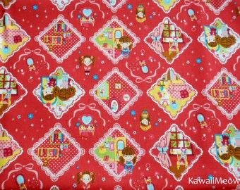 Kawaii Japanese Fabric - Cute Girls on Red - Half Yard (ca0913)