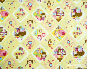 Kawaii Japanese Fabric - Cute Girls on Yellow - Half Yard (ca0913)