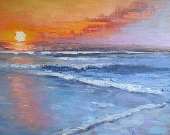 """Seascape with sunset, Daily Painting, Small Oil Painting, Sunset Oil Painting, """"The sun falls to the sea"""", 11x14x1.5"""" Oil"""