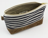 Stripe denim x Waxed canvas zipper pouch - Sailor